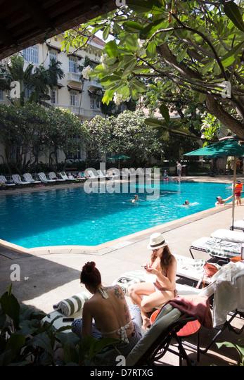 Swimming pool of the Raffles Le Royal Hotel; Phnom Penh; Cambodia, Southeast Asia - Stock Image