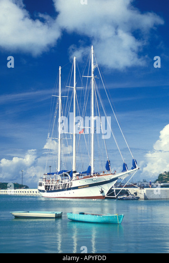 Antigua Sailing Ship in Harbour - Stock Image