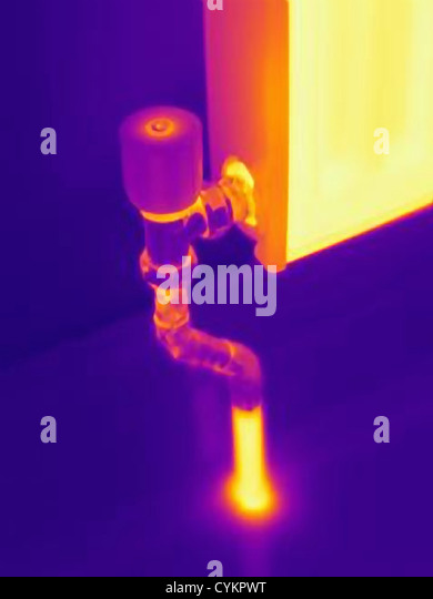 Thermal image of heating radiator - Stock Image