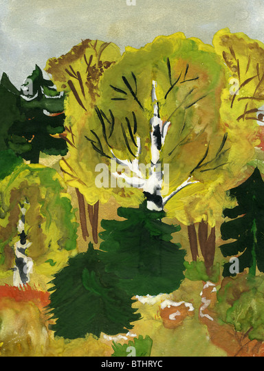 Child's drawing of the autumn forest. Made by child. - Stock Image