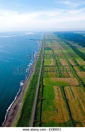 Aerial view of Abundant Ororonrain, town - Stock Image