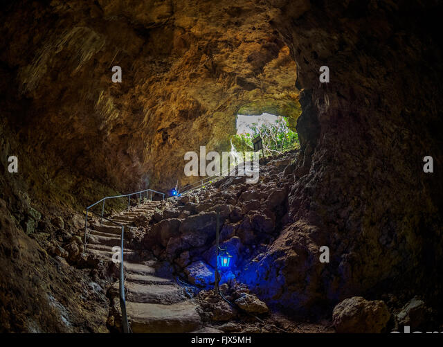 Steps In Illuminated Cave - Stock Image