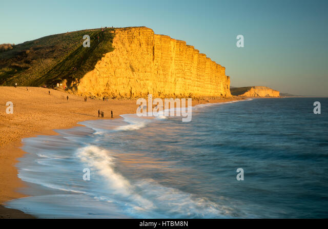 the beach below East Cliff, West Bay, Jurassic Coast, Dorset, England, UK - Stock Image