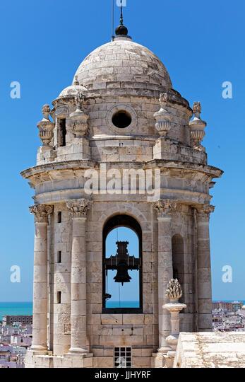 Bell Tower, Cadiz Cathedral (Catedral de Santa Cruz de Cádiz), Plaza Catedral, Cadiz, Spain - Stock Image
