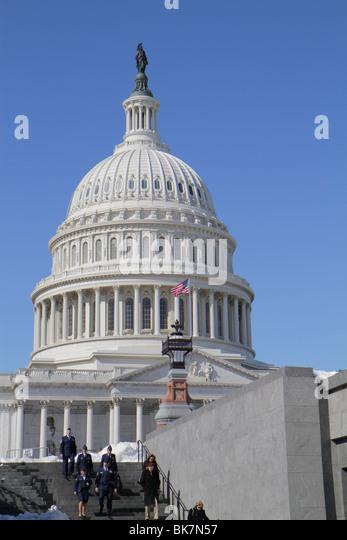 Washington DC Capitol Hill Historic District United States US Capitol dome government Congress symbol democracy - Stock Image