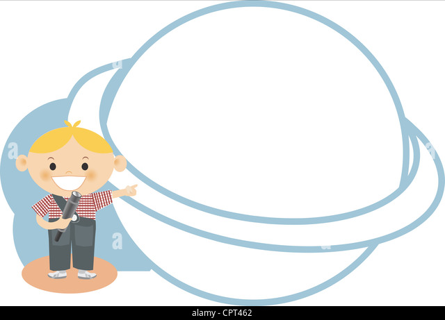 A boy pointing to a planet - Stock Image