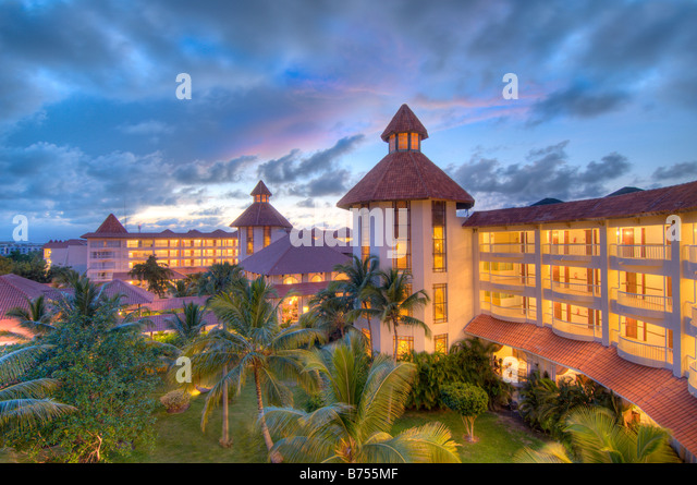Caribbean Dominican Republic Barcelo Premium Punta Cana all inclusive resort at sunset - Stock Image