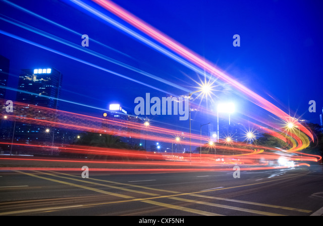 light trails of highway - Stock Image