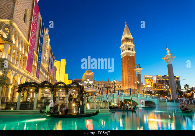Tourists Taking Gondola Ride at The Venetian Hotel - Stock Image