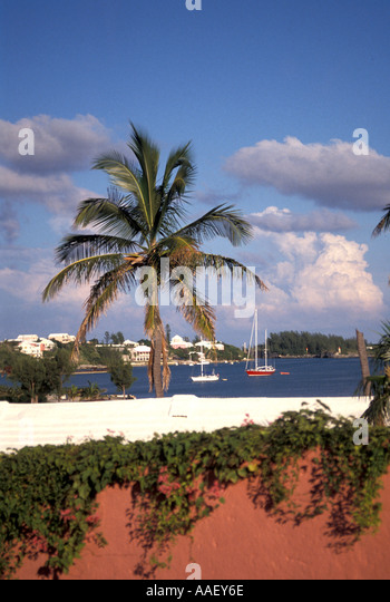 Bermuda Pink Wall Sailboats St Georges town - Stock Image
