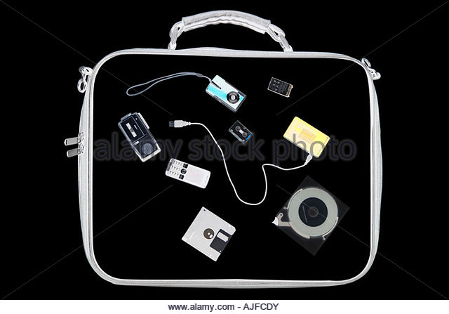 X ray of objects in bag - Stock Image