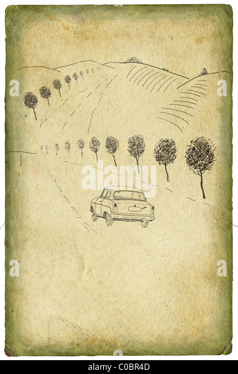 Old road illustration - Stock Image