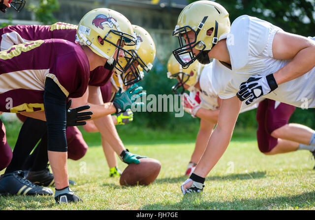 American football game - attack in progress - Stock Image