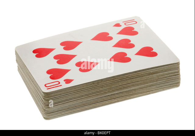 Deck of Playing Cards showing The Ten of Hearts - Stock Image