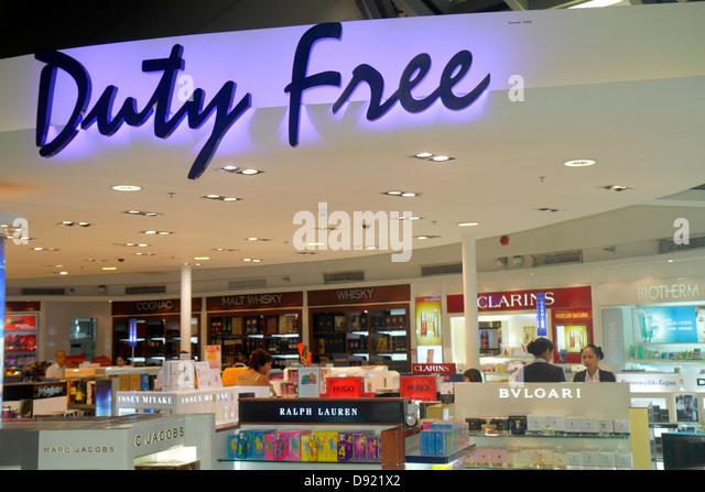 Bangkok Thailand Suvarnabhumi International Airport BKK terminal concourse gate area shopping Tax Free retail display - Stock Image
