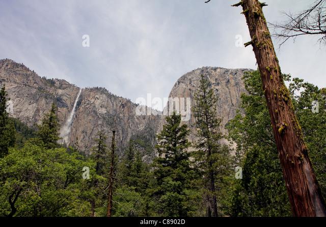 Ribbon Falls, Yosemite National Park, Sierra Nevada Mountains, California - Stock Image