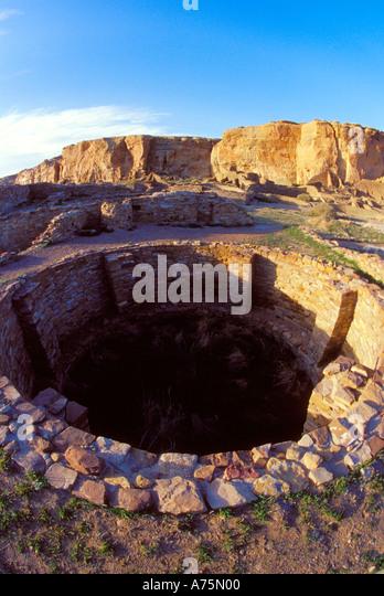 Ceremonial Kiva Pueblo Bonito Chaco Canyon Historical Park - Stock Image