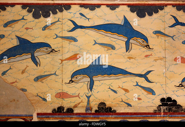 Knossos palace queen stock photos knossos palace queen for Dolphin mural knossos