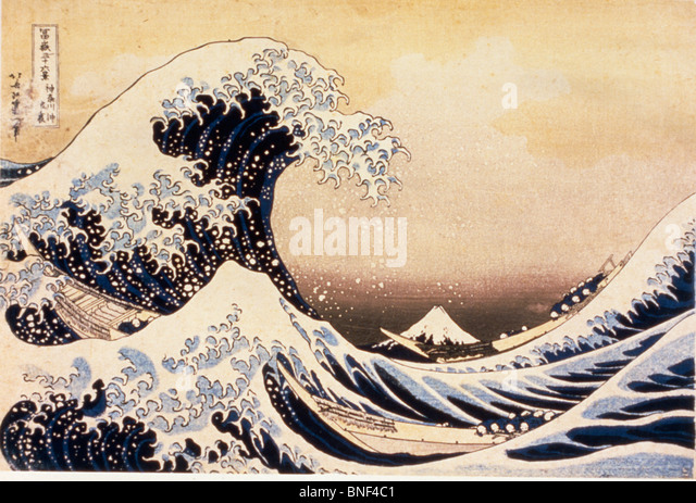 The Great Wave off Kanagawa by Katsushika Hokusai woodblock print Edo Period 19th century 1760-1849 Japan Tokyo - Stock Image
