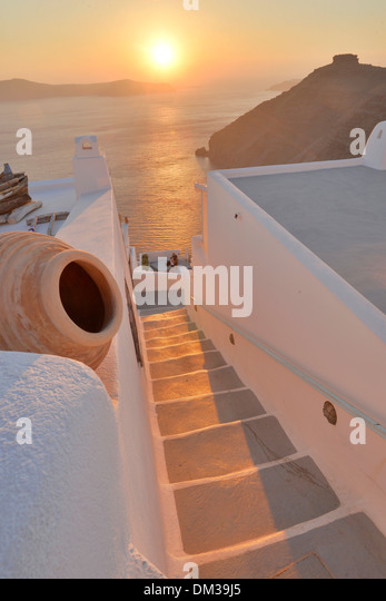 Europe Aegean Cyclades Greece Santorini Thira Island Greek Thira stair steps sunset sun sea travel destination icon - Stock-Bilder
