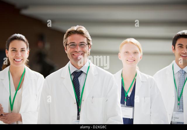 Portrait of smiling doctors - Stock Image