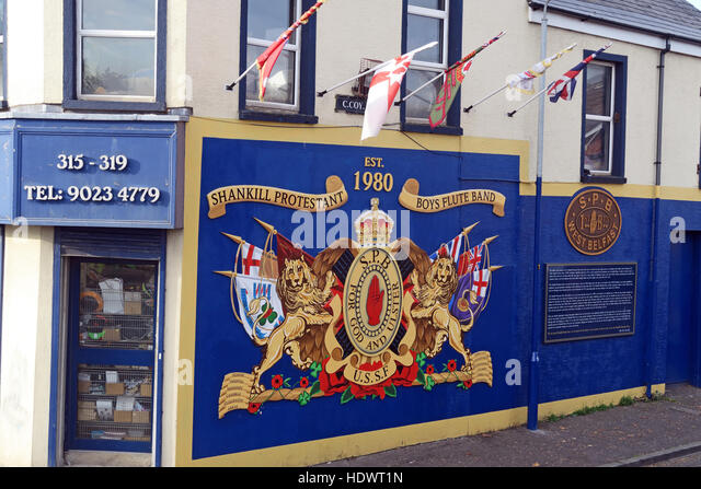 Shankill Protestant Boys Flute Band art,Shankill Road West Belfast,Northern Ireland,UK - Stock Image