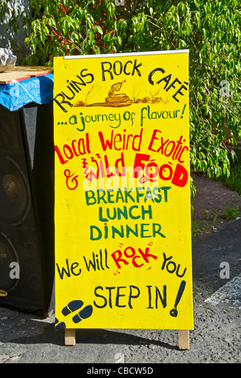 Ruins Rock cafe safe with 'local weird exotic & wild food,' Roseau Dominica - Stock Image