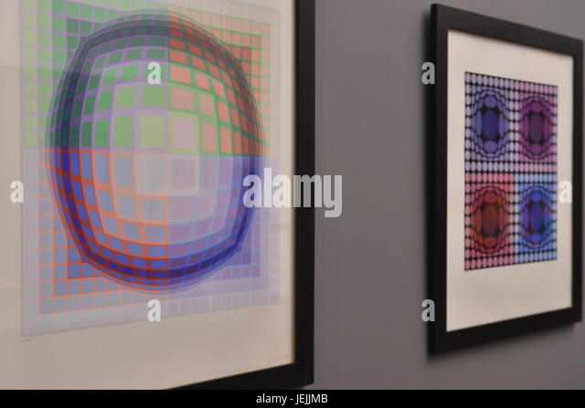Painting by Hungarian born French artist Victor Vasarely at the exhibition in Ales South Bohemian Gallery in Hluboka - Stock-Bilder