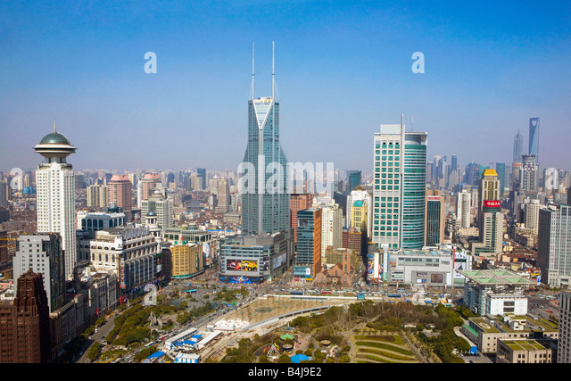 Shanghai, China. Cityscape looking towards Pudong. - Stock Image
