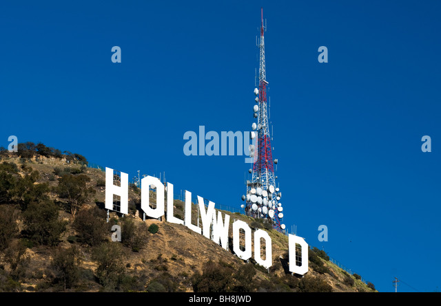The Hollywood white sign, Los Angeles, California, USA - Stock Image