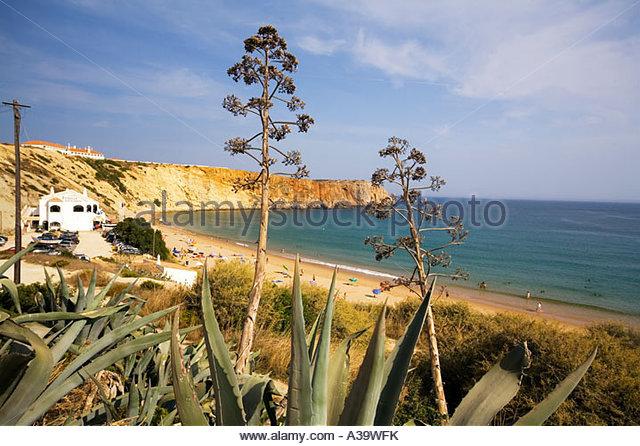 Portugal Algarve Atlantikc coast beach Praia de Mareta Sagres Portugal Atlantik Kueste Badestrand Algarven - Stock Image