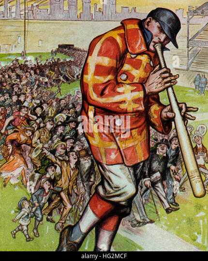 The pied piper of America -  Illustration shows a large baseball player using a baseball bat as a musical pipe to - Stock Image