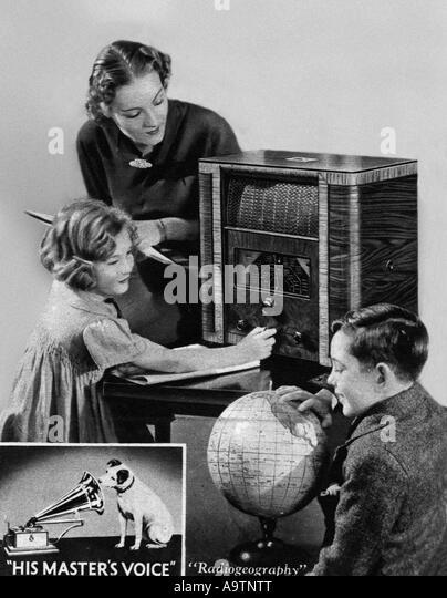 WIRELESS - advert for a  1930s HMV radio set - Stock Image