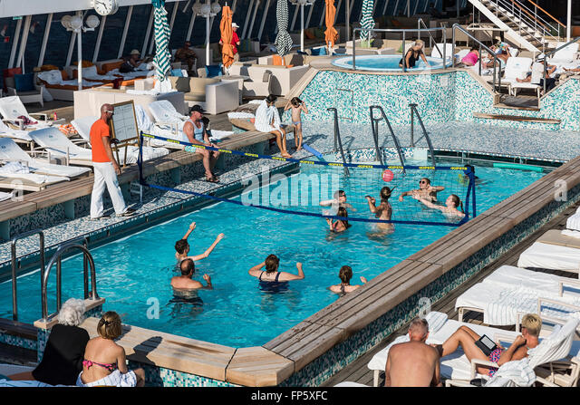 Water volleyball on a cruise ship pool, Crystal Serenity Ship - Stock Image