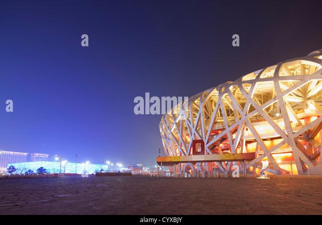 China, Beijing, National Stadium at night - Stock-Bilder