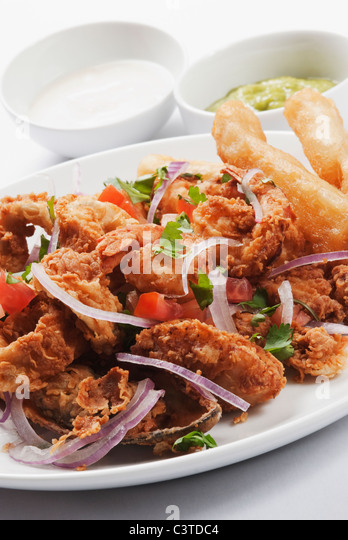 Close up of fried entree - Stock Image