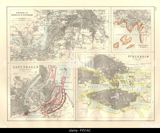 EUROPEAN CITIES. Berlin Copenhagen Stockholm Christiania/Oslo. JOHNSTON 1920 map - Stock Image
