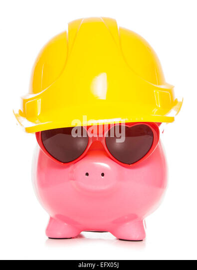 honest caring builder piggy bank cutout - Stock Image