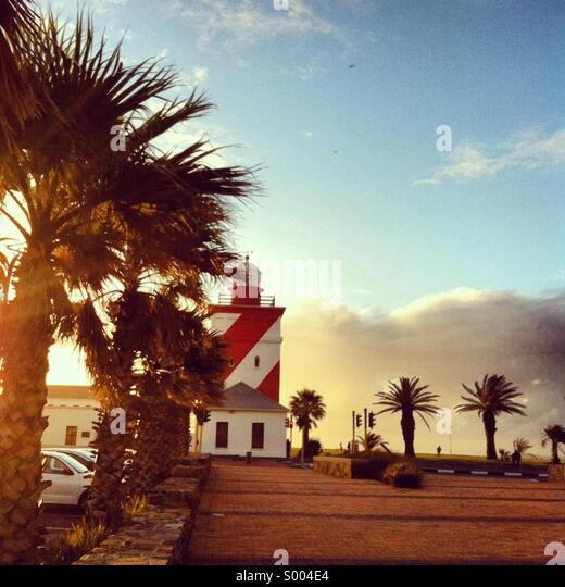 Mouille Point lighthouse in Cape Town, South Africa - Stock Image