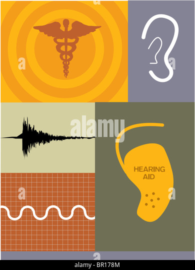 Illustrations of soundwaves, a hearing aid and caduceus symbol - Stock-Bilder