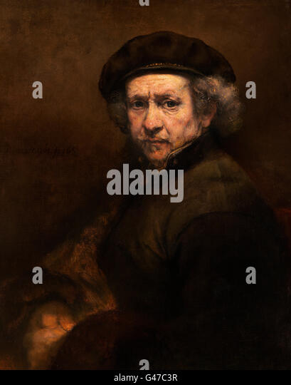 Rembrandt. Self Portrait at the Age of 53 by Rembrandt van Rijn (1606-1669), oil on canvas, c.1659 - Stock Image