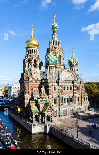 Domes of Church of the Saviour on Spilled Blood, UNESCO World Heritage Site, St. Petersburg, Russia, Europe - Stock Image