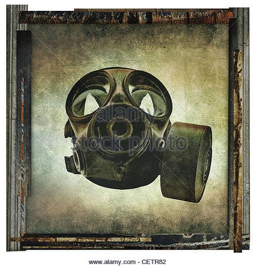 gas mask print - Stock Image