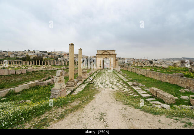 The gateway to the western baths in the ancient Roman city of Jerash in Jordan. - Stock Image