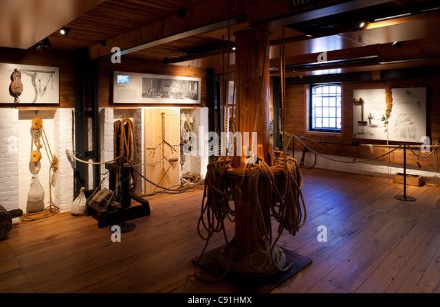 Demonstration of rope making and sailor's knots International Maritime Museum Hamburg Hanseatic city of Hamburg - Stock Image