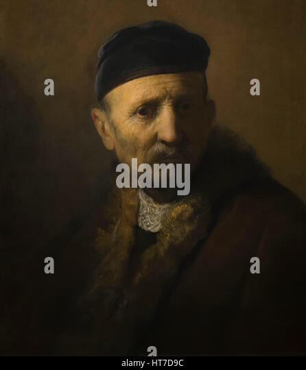Tronie of an Old Man, by Rembrandt, circa 1630, Royal Art Gallery, Mauritshuis Museum, The Hague, Netherlands, Europe - Stock Image