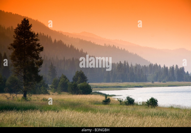 Sunset at Cascade Lake in Valley County Idaho - Stock Image
