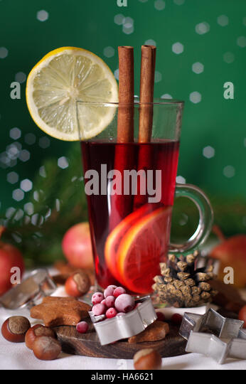 Mulled Wine, Christmas Glogg Festive Hot Drink - Stock Image