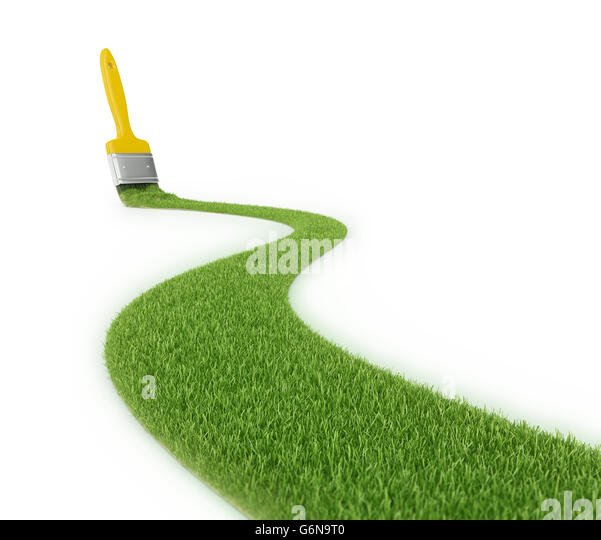 Grass pathway made with a stroke of a paintbrush - 3D illustration - Stock-Bilder