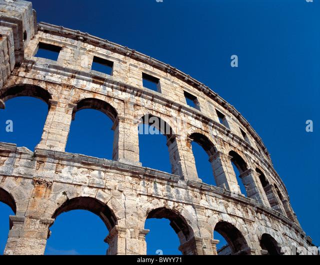 amphitheater Ancient world antiquity arcades detail facade historical Istria Croatia Roman Roman town ci - Stock Image